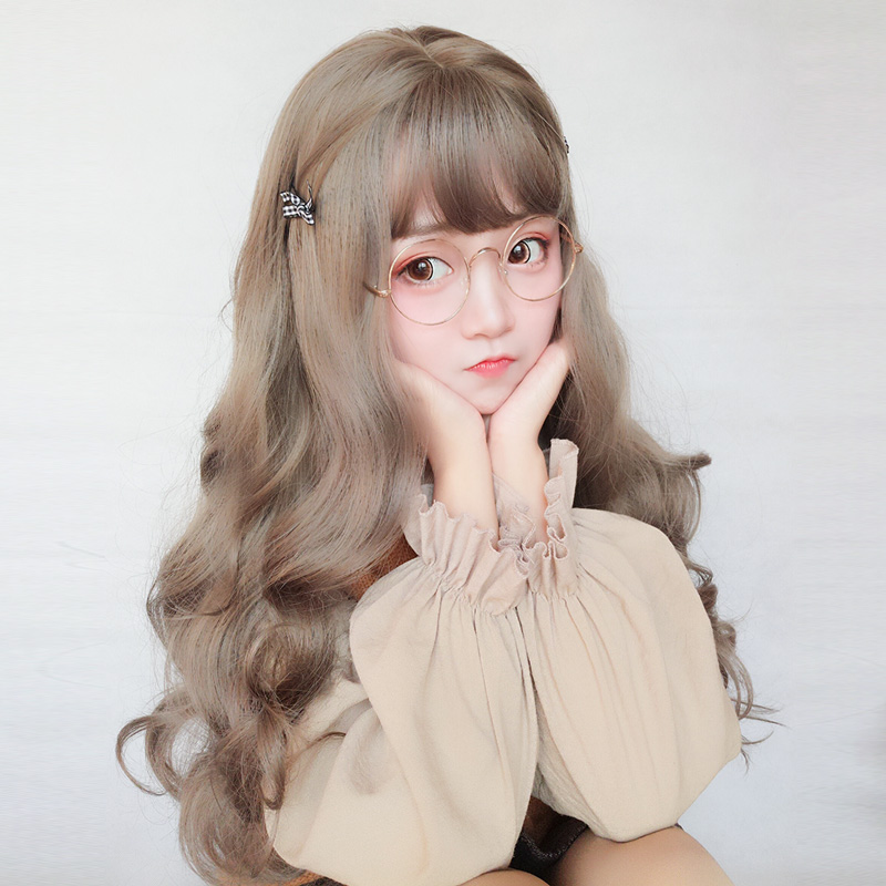 Wig female long curly hair big wave net red lovely Lolita round face Student Korean fluffy face natural headgear