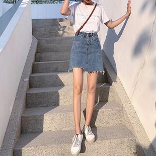 2020夏新款韩版高腰牛仔短裙女ins超火裙子a字包臀裙不规则半身裙品牌