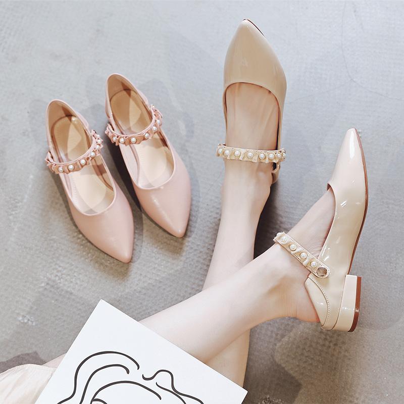 尖头粗跟单鞋女2019夏季新款浅口平底复古奶奶鞋软皮两穿玛丽珍鞋