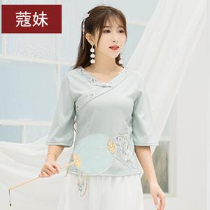 民族风女装夏刺绣修身T恤复古棉麻上衣中国风唐装改良旗袍茶服饰