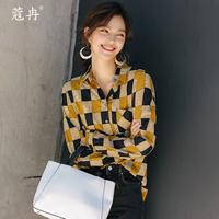 2019秋季新款韩版休闲原宿bf宽松印花格子复古衬衣女长袖衬衫上衣