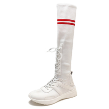 Ins overheated elastic breathable socks, shoes, female students'stockings, boots, college style Korean version sports high-top shoes