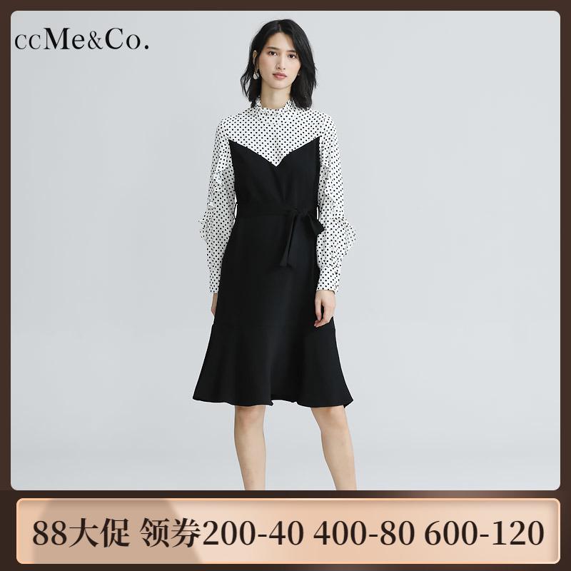 4053 秋荷叶边长袖波点拼接连衣裙女小高领系带收腰中长裙ccMeCo