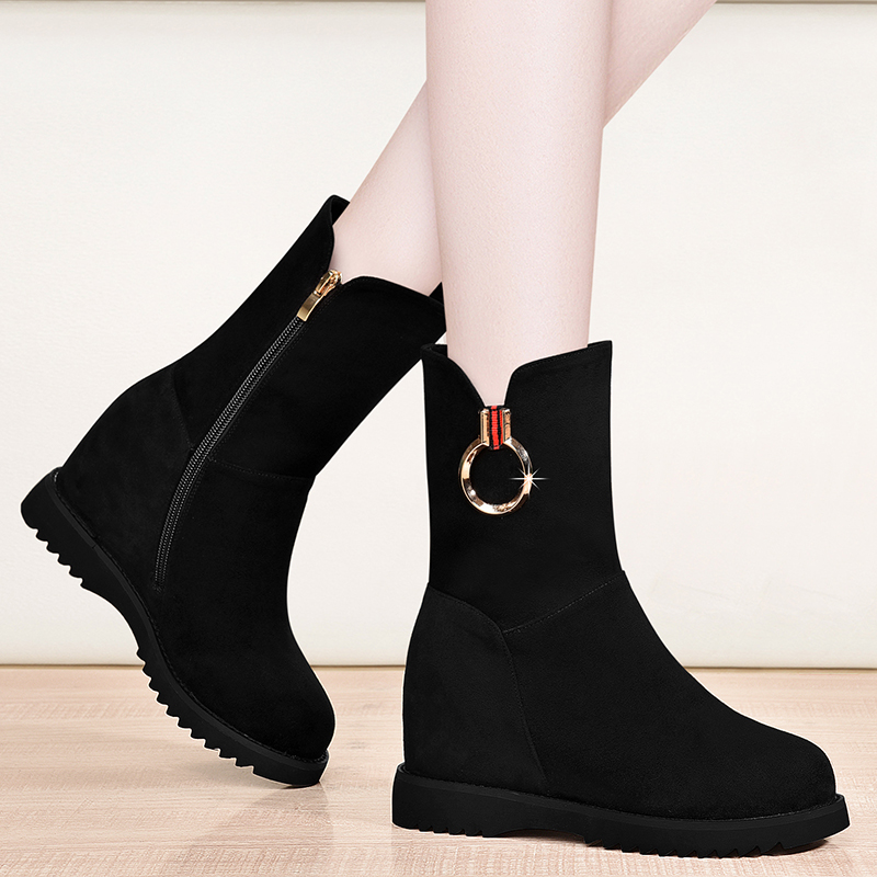 Martin boots womens shoes 2020 new fall and winter versatile inner height small middle boots thin short boots fashion