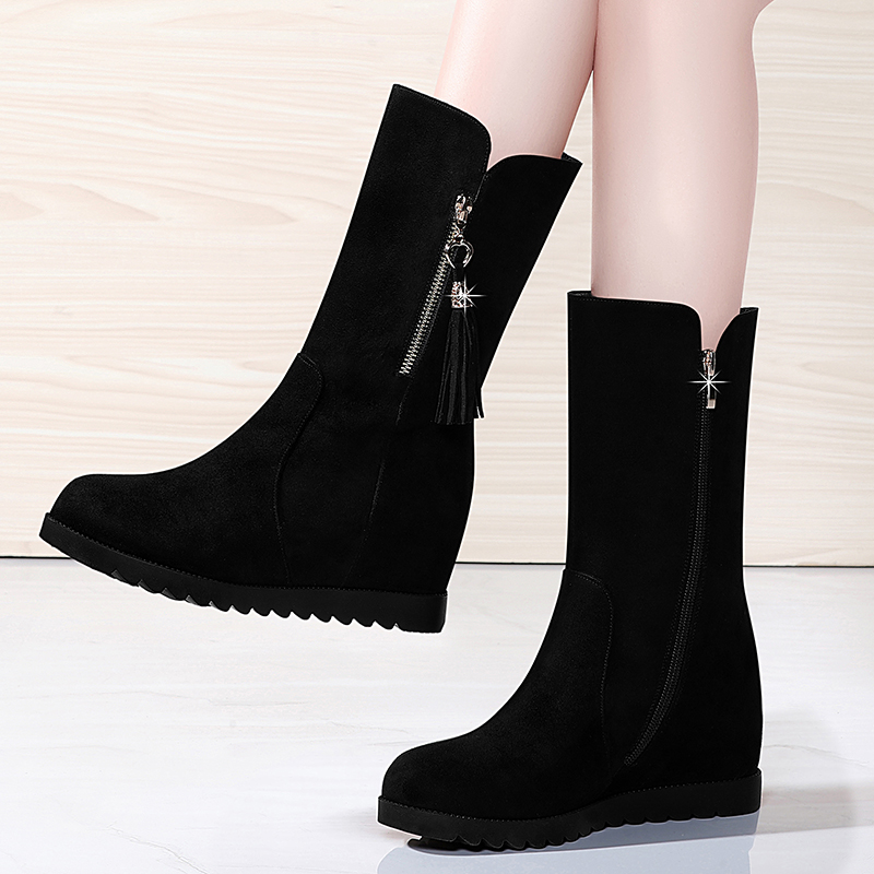 Autumn and winter 2020 new versatile inner half bucket cotton shoes thin short boots middle tube boots Plush women boots versatile