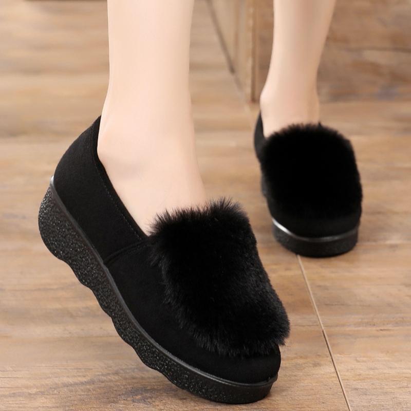 豆豆鞋女2019春冬新款老北京工作布鞋加绒保暖毛毛棉鞋厚底妈妈鞋