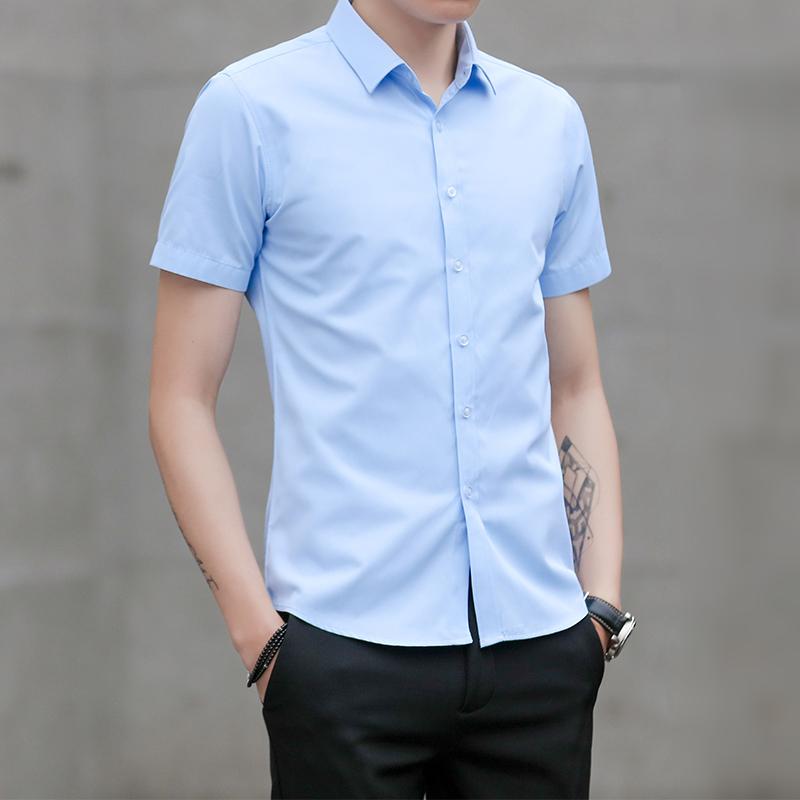 爆款夏季商务衬衫男士短袖休闲衬衣韩版修身寸衫 2002-1-CS72-P20