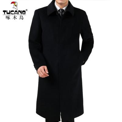 啄木鸟男装中长款毛呢大衣过膝羊绒风衣中年爸爸羊毛呢子外套加厚