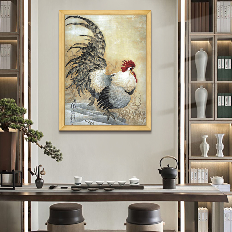 Cockerel Chinese porch decoration painting vertical version living room aisle framed Chinese painting