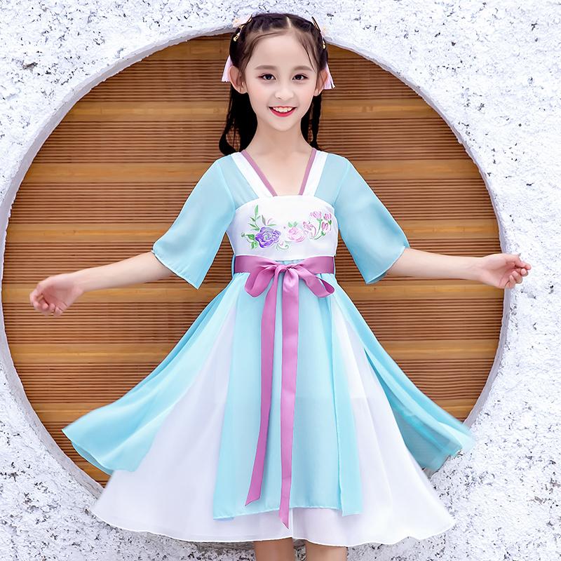 热销395件手慢无超仙女童夏装公主襦裙子中国风汉服