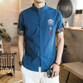 夏季中国风短袖透气衬衫男刺绣男士棉麻唐装中式复古盘扣立领衬衣