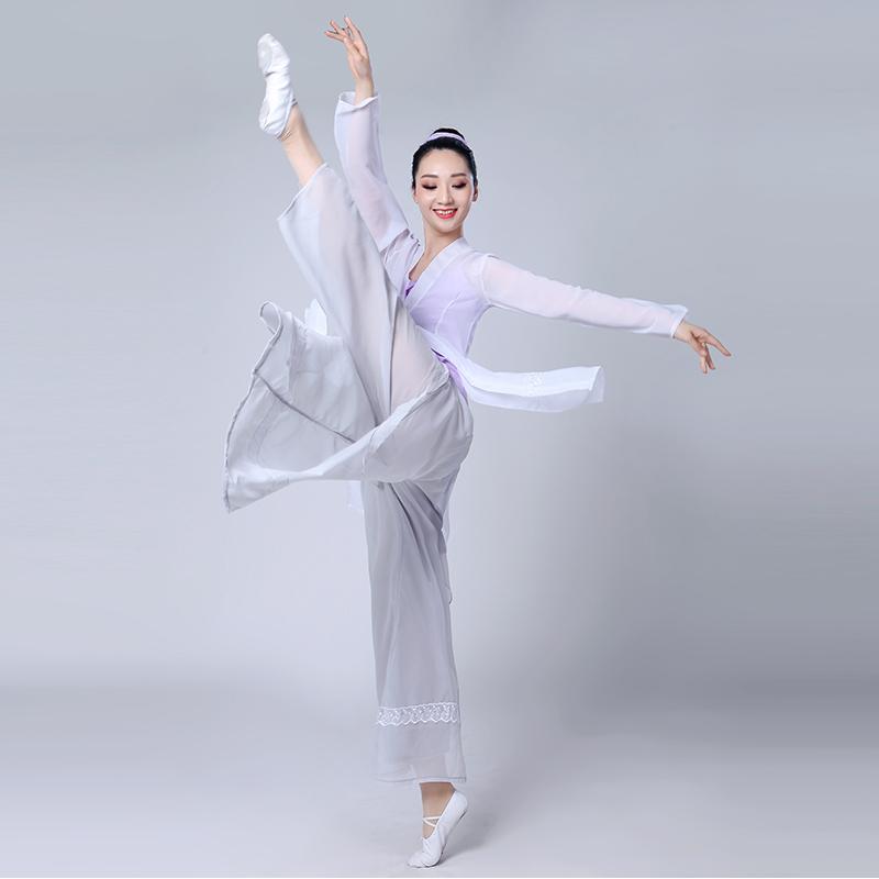 古典舞演出服女�h逸中���L新款采薇舞蹈服�b半�丶��功服套�b成人