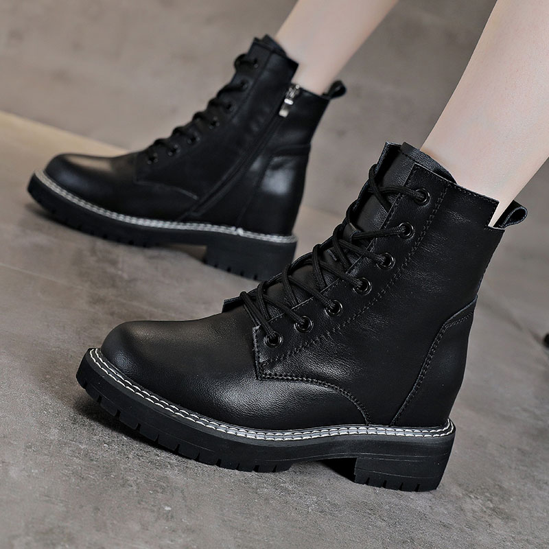 Inner height Martin boots womens 2020 new British style spring autumn single boots cool locomotive short boots zipper autumn shoes