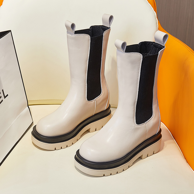 Monas same womens boots new versatile heavy soled Chelsea boots in autumn 2021