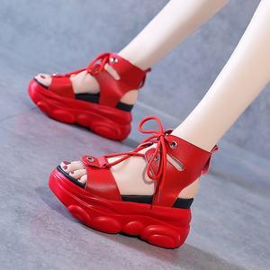 凉鞋女2020年新款夏季个性时尚鱼嘴厚底松糕镂空短靴凉靴子女