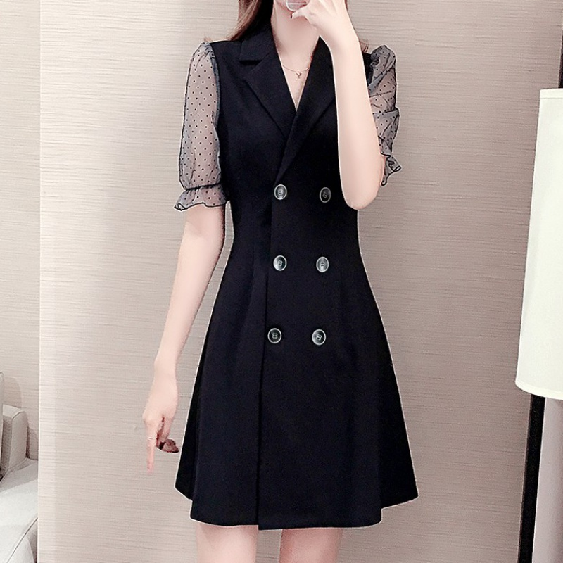 Summer 2020 new womens French style retro slim dress waist closing temperament short sleeve double breasted suit collar skirt