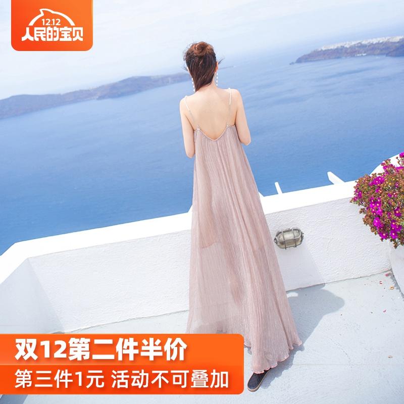 露背沙灘裙長款女夏2019新款三亞吊帶長裙海邊度假超仙泰國連衣裙