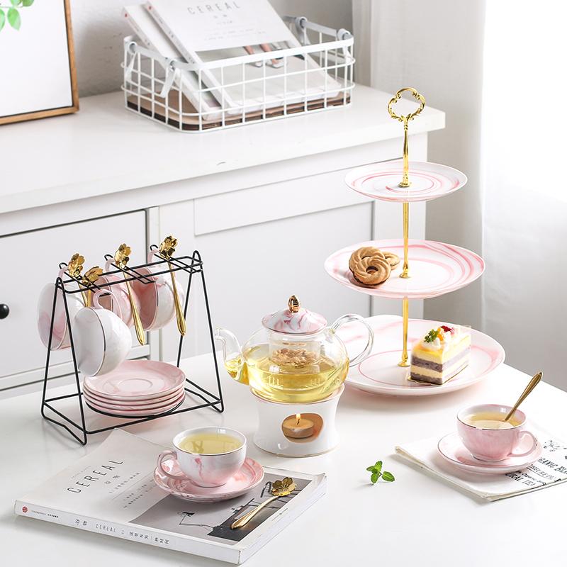 欧式ins下午茶陶瓷花茶壶玻璃花草水果花果茶具耐热蜡烛加热套装