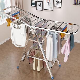 不銹鋼桿落地折疊臥室內家用晾衣架
