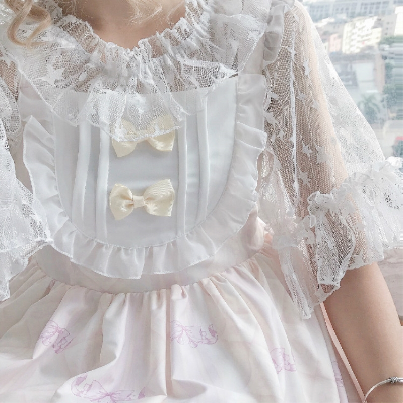 Lace mesh off shoulder flared sleeve Lolita Lolita with dress lining and foreign style super fairy top for female Xia