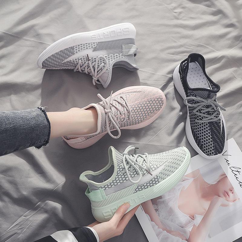 小雏菊透气镂空网鞋飞织运动鞋女鞋潮2020年夏季新款百搭学生鞋子图片