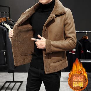 羊羔毛冬季外套男韩版潮流2020新款双面穿加绒保暖棉衣颗粒绒夹克品牌