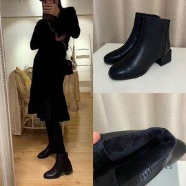 特价包邮~高档货 加绒里牛皮靴 粗跟后拉链马丁靴 女短靴皮靴子