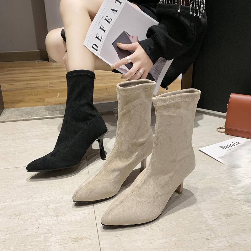 短靴女春秋单靴时尚气质简约性感绒面尖头后拉链细跟高跟鞋及裸靴