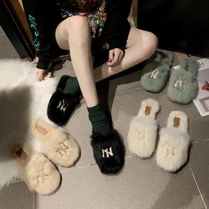 家用毛毛拖鞋女2019新款秋冬季时尚外穿包头半拖鞋平底懒人女鞋子