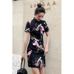 新式改良旗袍连衣裙黑色年轻款少女夏季修身学生现代时尚性感短款
