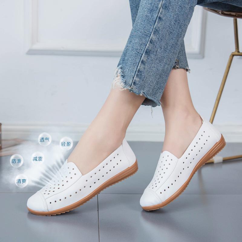 夏季老北京布鞋女一脚蹬百搭平底小白鞋休闲透气镂空懒人女鞋