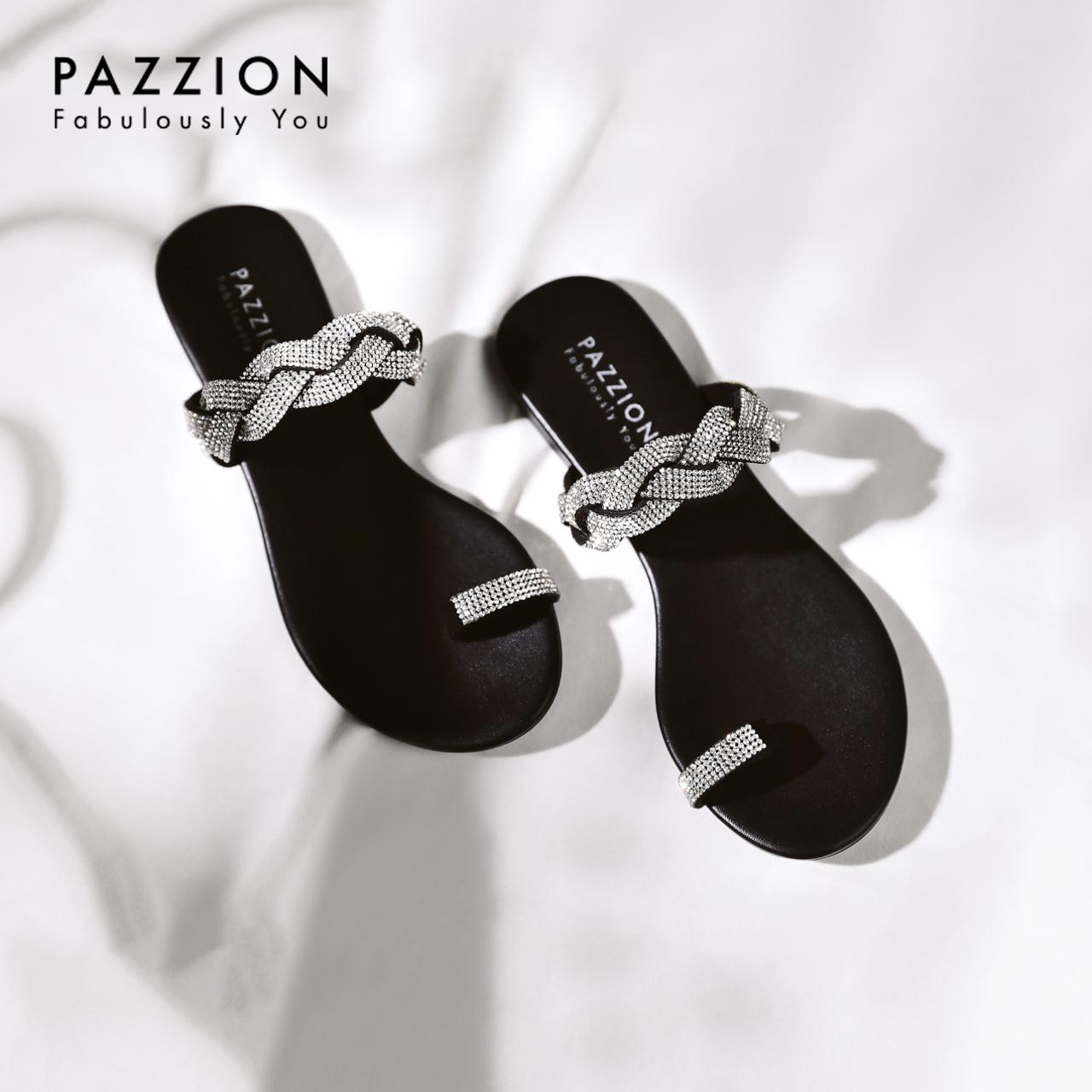 PAZZION时尚水钻编织带夹趾拖鞋女2019夏季新款 舒适休闲平底女鞋