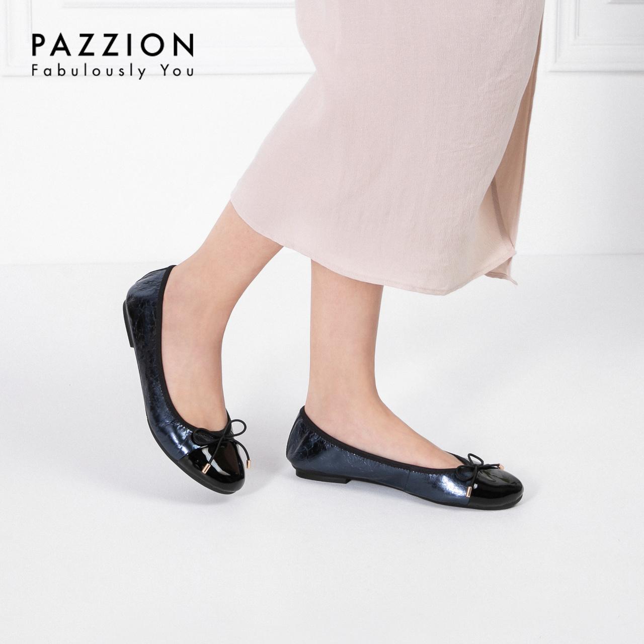 PAZZION2019夏季新款蝴蝶结拼接牛皮折叠鞋 休闲浅口圆头平底鞋女