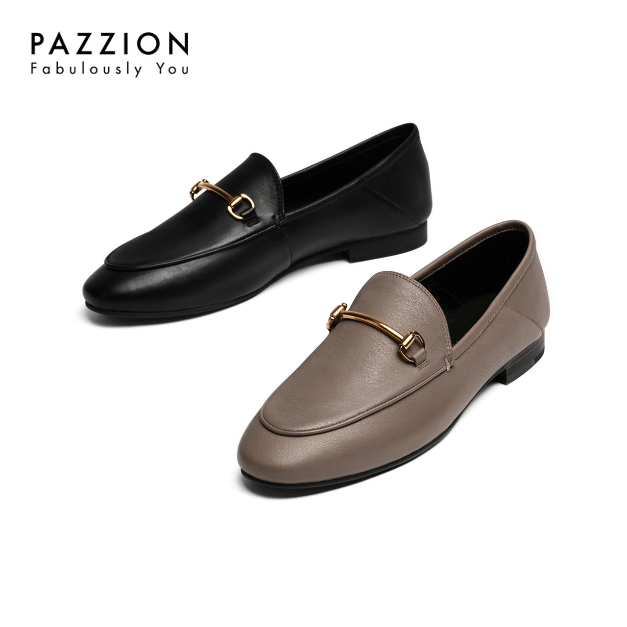 PAZZION新款欧美舒适牛皮粗跟单鞋 休闲圆头马衔扣乐福鞋