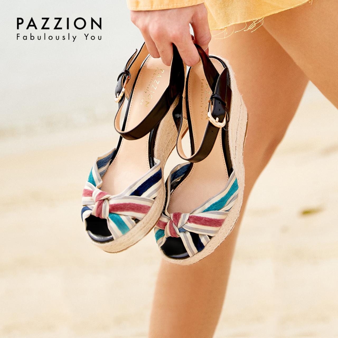 PAZZION交叉拼色带皮扣编织凉鞋女2019新款 时尚亮丽高跟坡跟单鞋