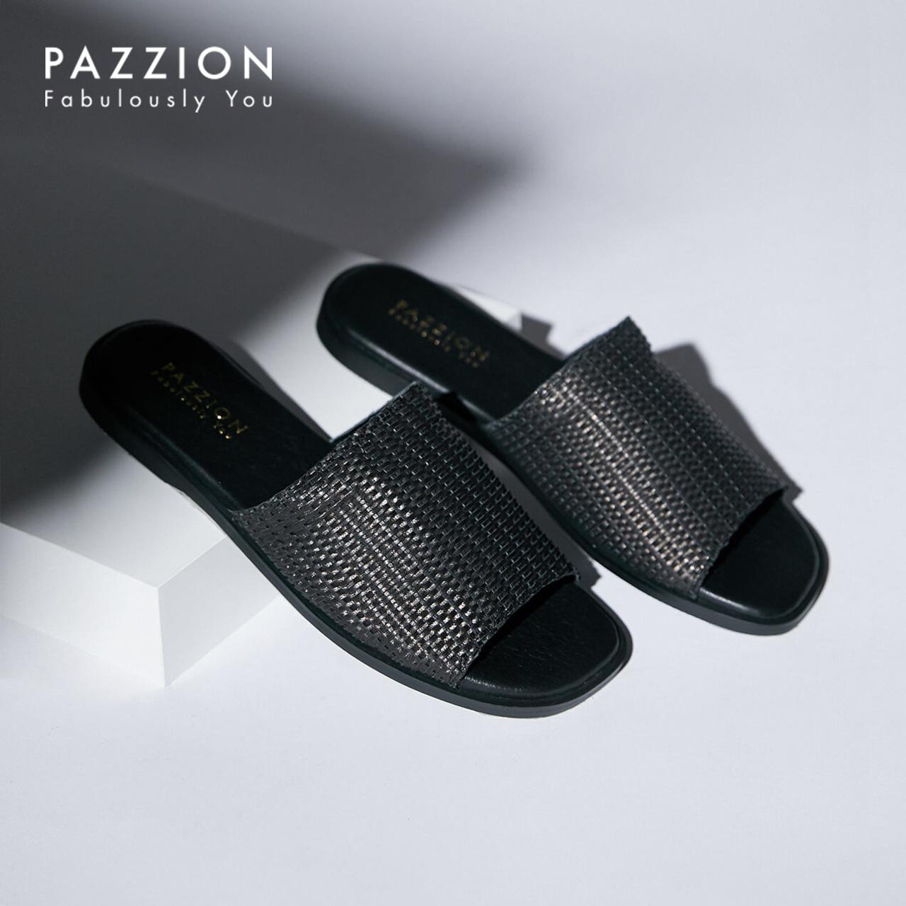 PAZZION编织面羊皮平底拖鞋女2019夏季新款 简约休闲一字带女鞋