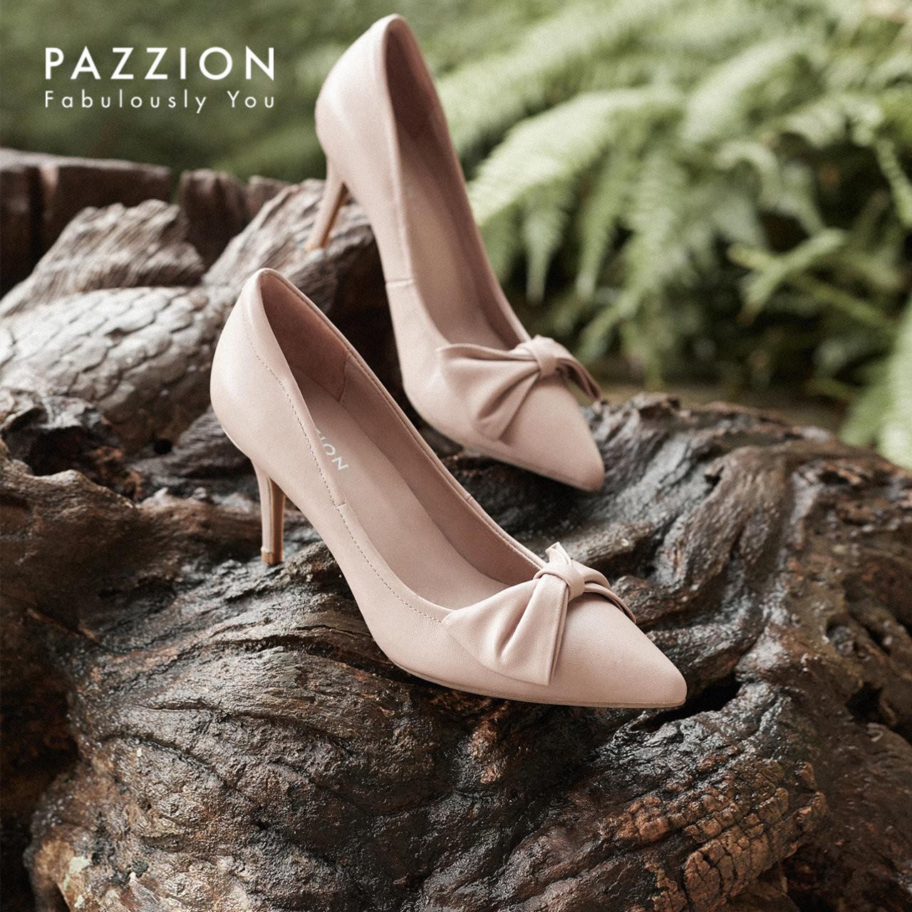 PAZZION2019夏季新款甜美翻折蝴蝶结细高跟鞋 套脚浅口尖头单鞋女