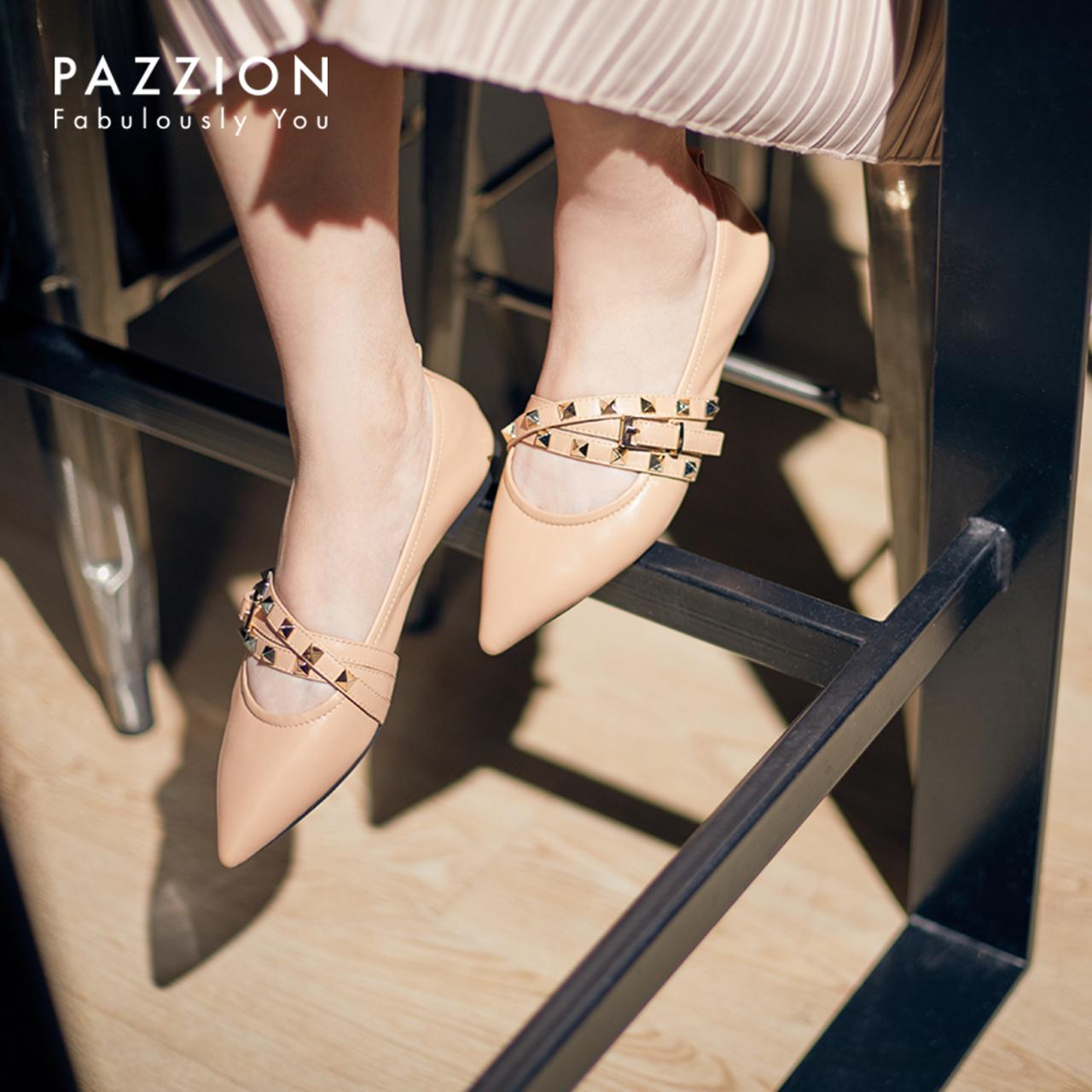 PAZZION柔软羊皮尖头平底单鞋女 时尚铆钉一字式扣带复古玛丽珍鞋