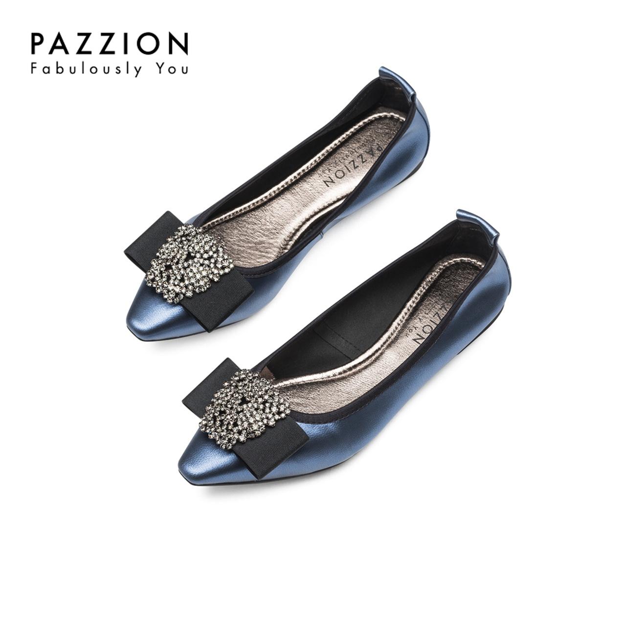 PAZZION夏季女士单鞋 优雅方头缎带蝴蝶结钻饰浅口方跟女鞋平底鞋
