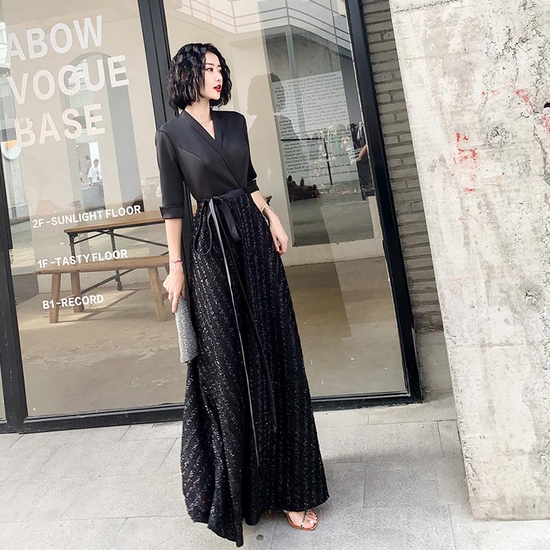 黑色晚礼服裙轻奢小众高端2021新款名媛宴会晚装连衣裙长款大气夏