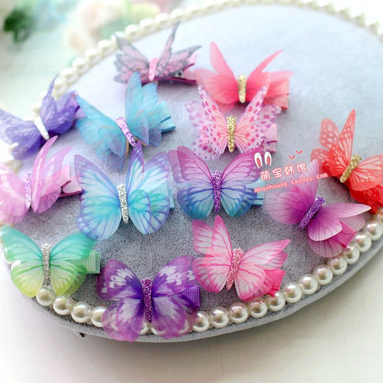 Exported to Europe and America yarn quality three-dimensional simulation butterfly cloth baby hairpin edge clip childrens hair accessories headdress