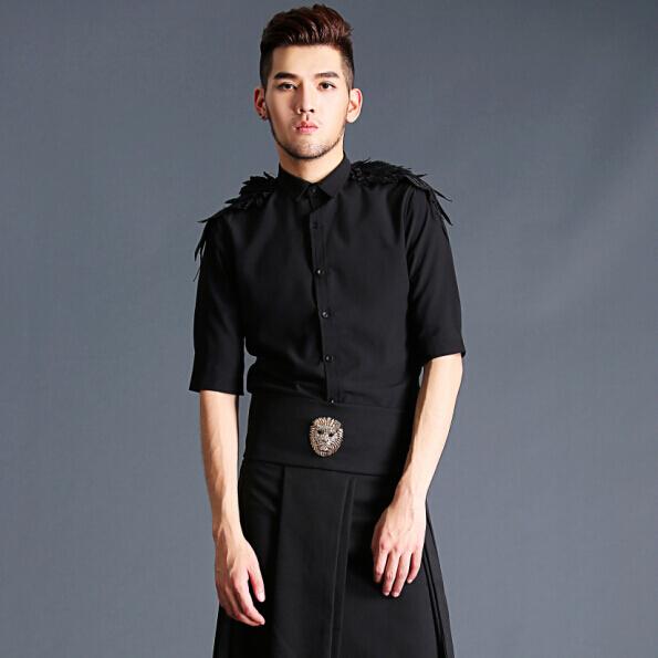 2019 trendy wing medium sleeve mens shirt work clothes Korean top slim inch shirt hairdresser mens and womens shirts