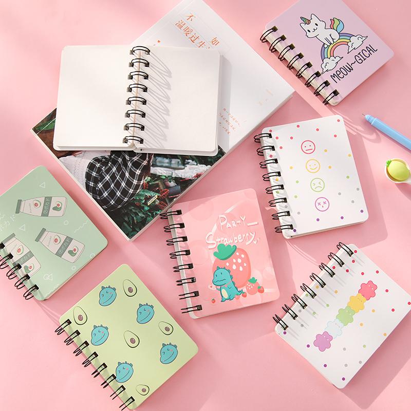 小号活页侧翻便携线圈笔记本随身迷你韩国创意口袋记事本本子文具