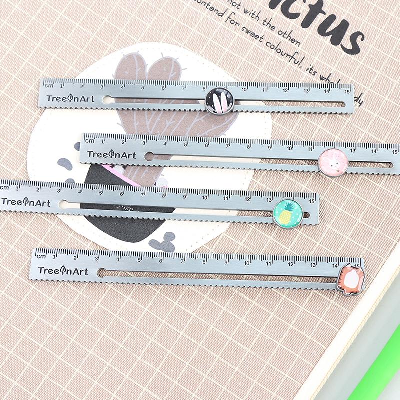 創意卡通金屬鋼尺桿多功能滑動測量尺學生文具便攜繪圖解題直尺子