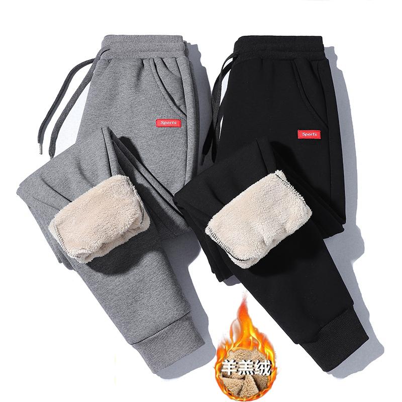 运动裤男士秋冬新款羊羔绒休闲裤长裤加绒加厚大码卫裤棉裤