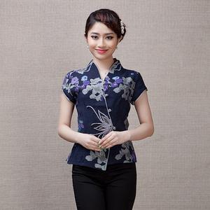 民国风女装汉服夏装民族风短袖复古中式盘扣上衣中国风改良唐装女