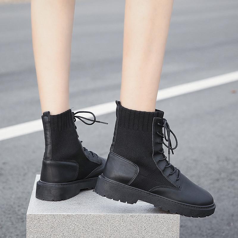 马丁靴女ins2019秋季新款袜靴百搭英伦风时尚透气帅气机车短靴子