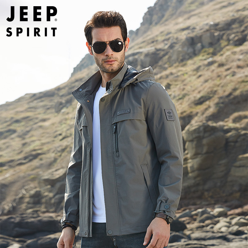 Jeep men's flagship exclusive spring and autumn coat men's Hooded Jacket youth casual loose top outdoor men's wear