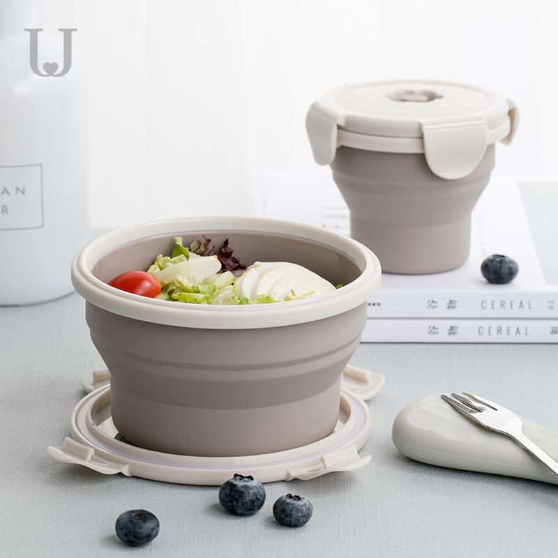 佐敦朱迪户外野餐便携可伸缩折叠餐盒旅行硅胶饭盒泡面碗带盖套装