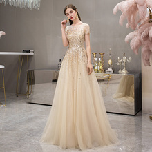 Gold high end Queen's evening dress luxury celebrity noble temperament banquet fashion long slim dress